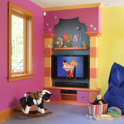 Yellow-and-Pink-Theme-Decoration-with-TV-Unit-Furniture-in-Modern-Kids-Bedroom-Paint-Decorating-Designs-Ideas